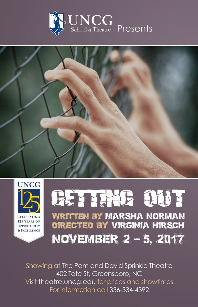 poster for getting out production showing hands on fence