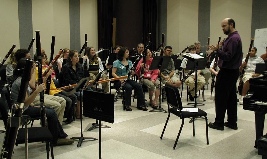 students seated with instruments