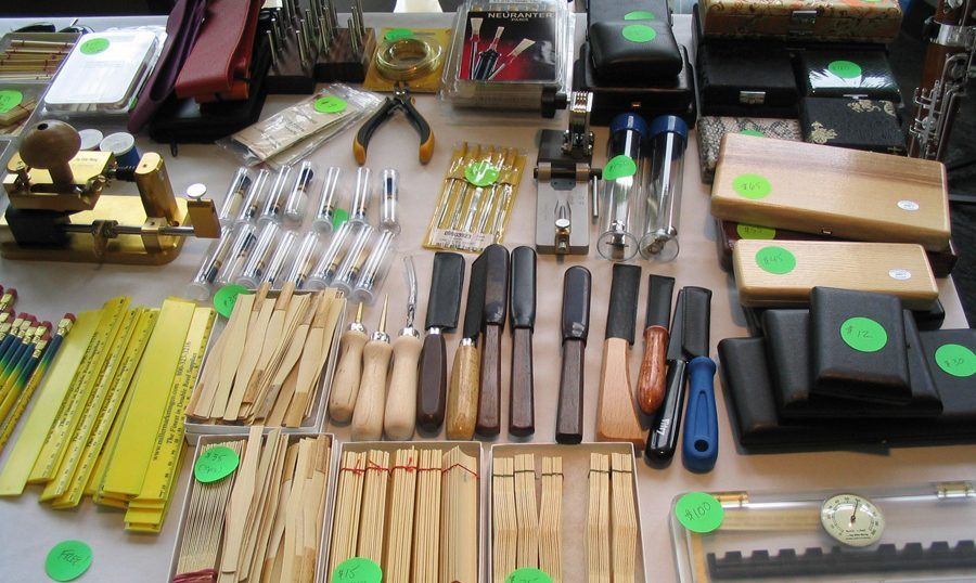 display of reeds and instruments and tools