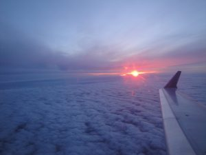 Sunrise over Europe from the plane.