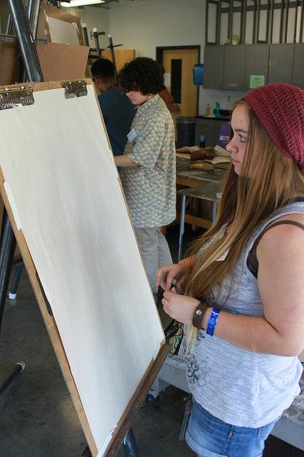 student artist painting