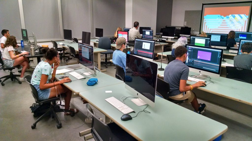 students in computer lab using computers