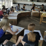art students in class