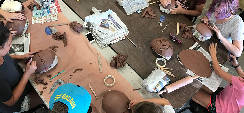 art students working