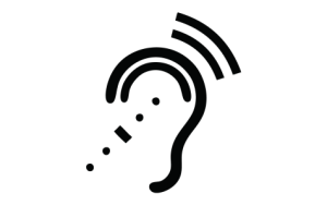 Image Description: This is an image of an ear with a wireless receiver in it. The graphic shows the sound waves being transmitted to the ear.