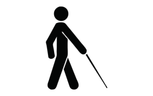 Image Description: This is the symbol of a person using a long cane for people with low vision.