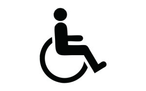 Image Description: The image depicts a person sitting in a wheelchair. It is the symbol most used for accessible parking.