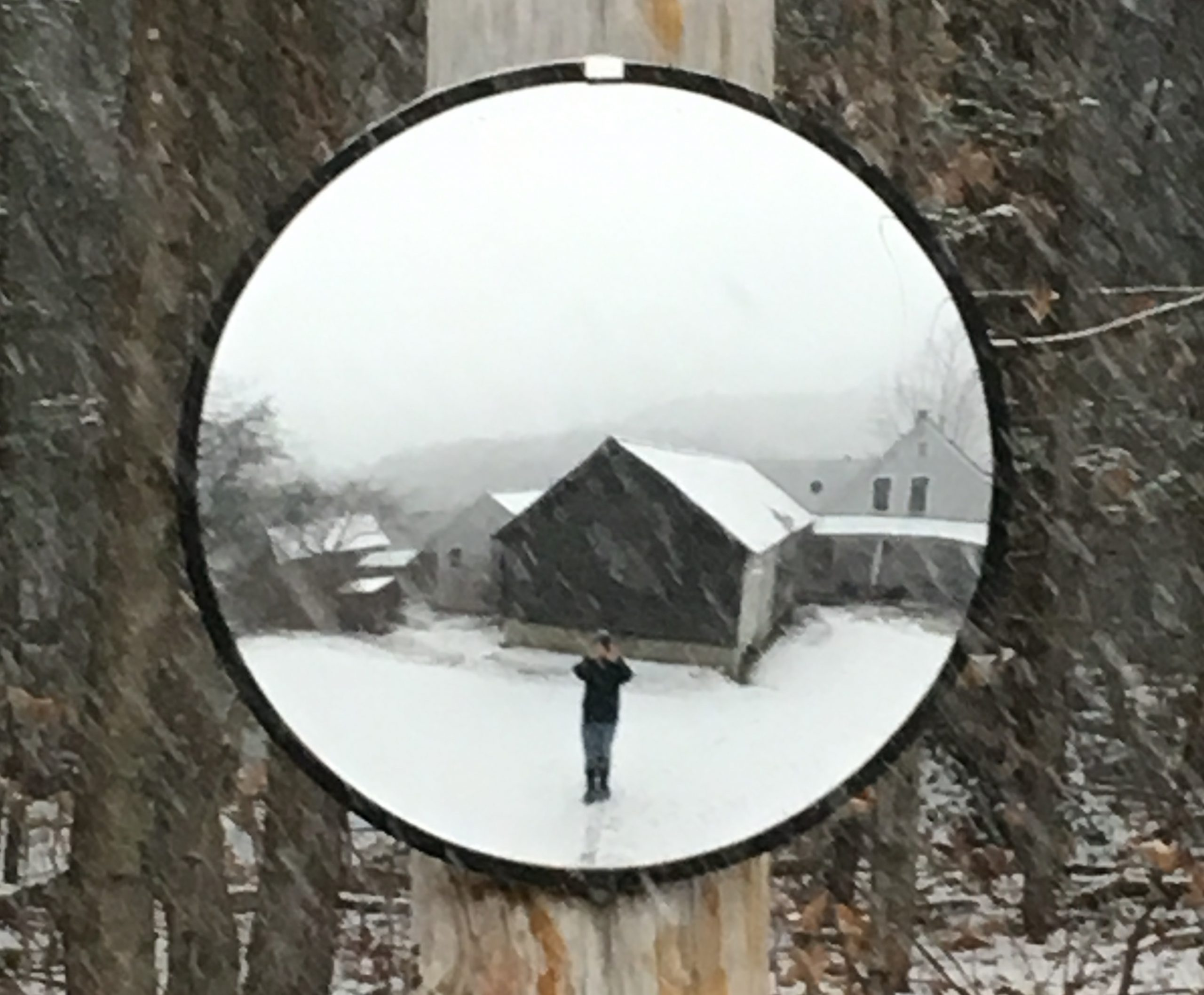 convex mirror reflecting artist taking photo