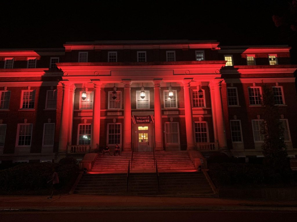 Brown Building lit in red