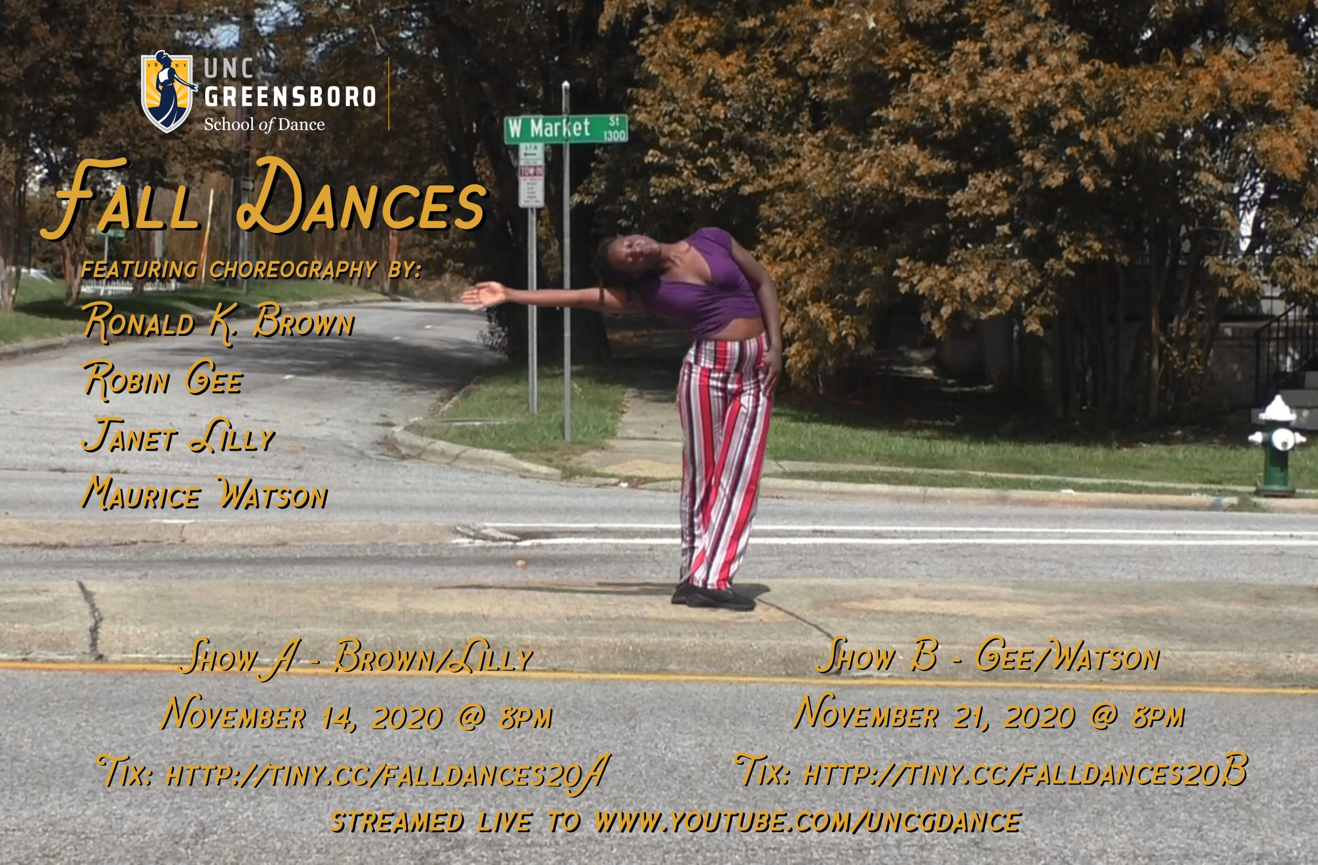 An image of a dancer with text listing information about UNCG Fall Dances.