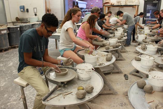Students in ceramics class