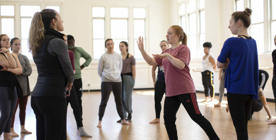 Choreography III, group forms class under the instruction of B.J. Sullivan
