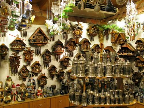 Cuckoo Clocks and Beer Mugs in one of Munich's souvenir shops