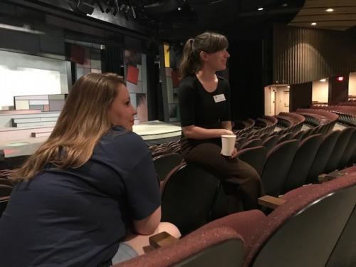 Harley Winzenried and Ciara Travis talking with prospective parents and students at UNCG Destination in our Taylor Theater.