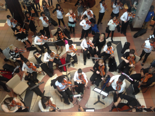 aerial view of student orchestra