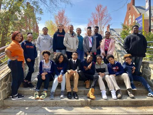 The Point College Prep group from Jamestown, NC came to visit us in the College of Visual and Performing Arts.  Certainly future Spartans! (April 10, 2018)